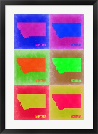 Framed Montana Pop Art Map 2 Print