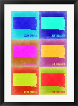 Framed South Dakota Pop Art Map 2 Print