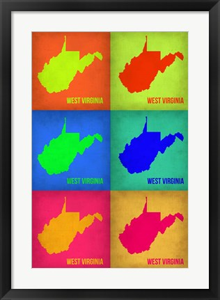 Framed West Virginia Pop Art Map 1 Print