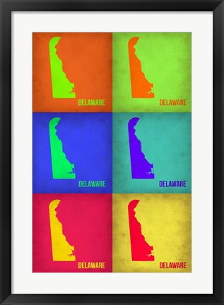 Framed Delaware Pop Art Map 1 Print