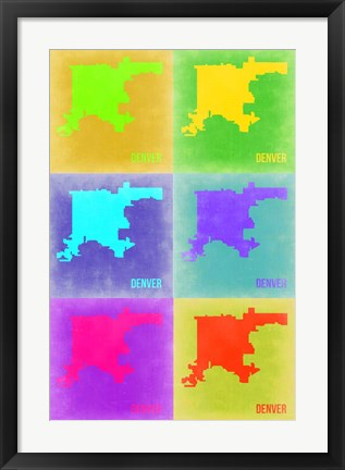 Framed Denver Pop Art Map 3 Print