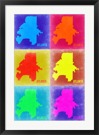 Framed Atlanta Pop Art Map 3 Print