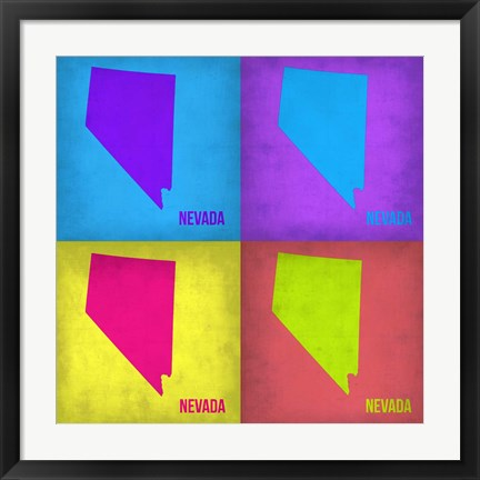 Framed Nevada Pop Art Map 1 Print