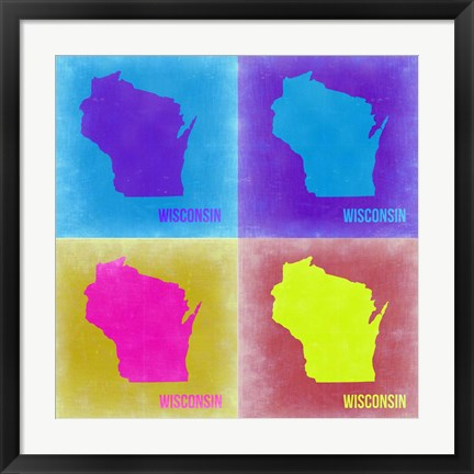 Framed Wisconsin Pop Art Map 3 Print
