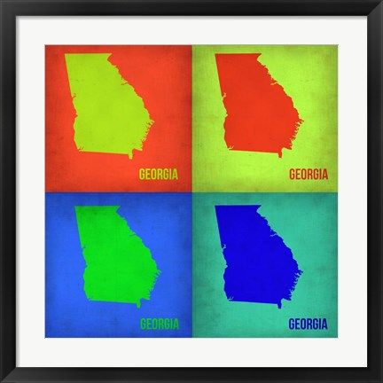 Framed Georgia Pop Art Map 1 Print