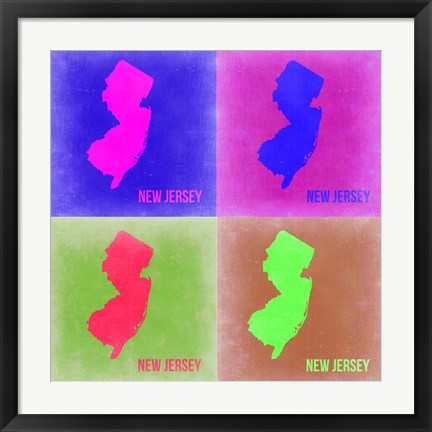 Framed New Jersey Pop Art Map 2 Print