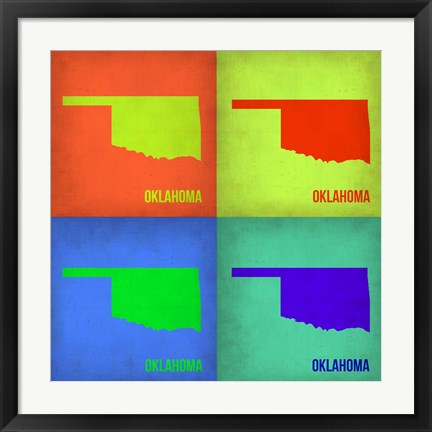 Framed Oklahoma Pop Art Map 1 Print