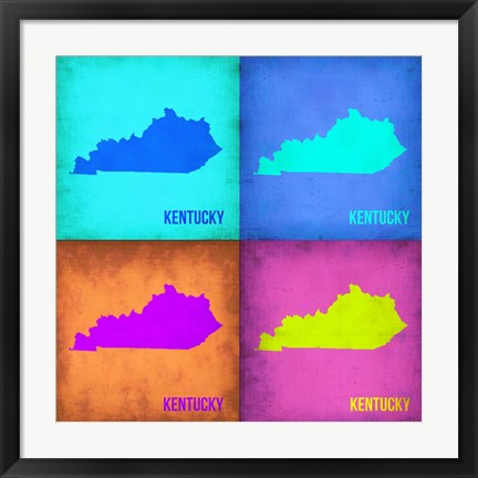 Framed Kentucky Pop Art Map 1 Print