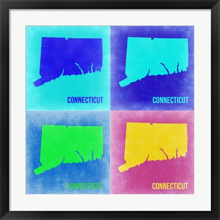 Framed Connecticut Pop Art Map 2 Print