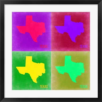 Framed Texas Pop Art Map 2 Print