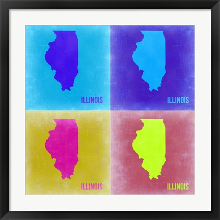 Framed Illinois Pop Art Map 2 Print