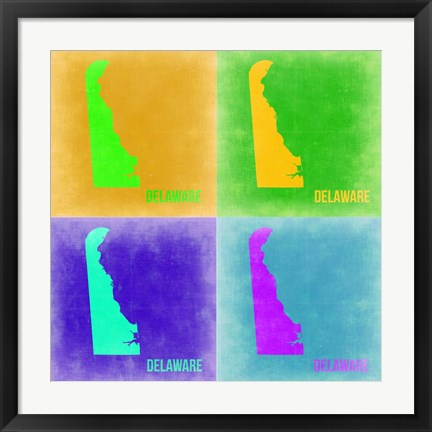 Framed Delaware Pop Art Map 2 Print