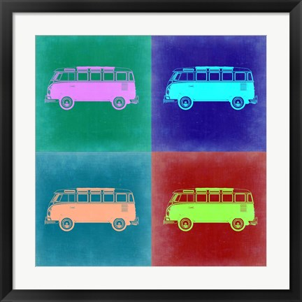 Framed VW Bus Pop Art 2 Print