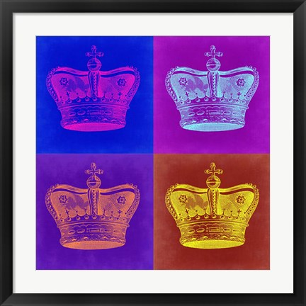 Framed Crown Pop Art 1 Print