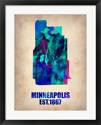 Framed Minneapolis Watercolor Map Print