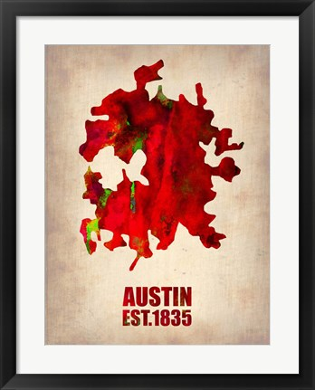 Framed Austin Watercolor Map Print
