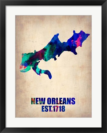 Framed New Orleans Watercolor Map Print