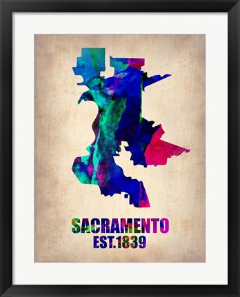 Framed Sacramento Watercolor Map Print