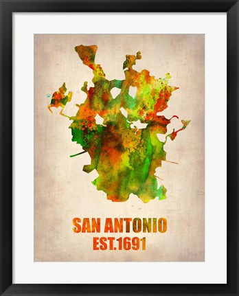 Framed San Antonio Watercolor Map Print