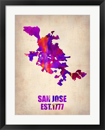 Framed San Jose Watercolor Map Print