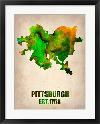 Framed Pittsburgh Watercolor Map Print