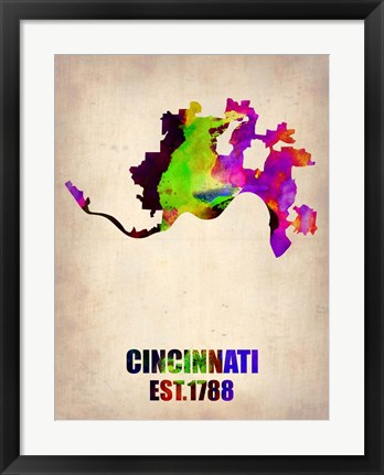Framed Cincinnati Watercolor Map Print