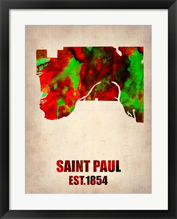 Framed Saint Paul Watercolor Map Print