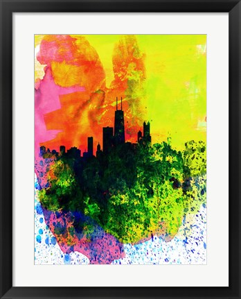 Framed Chicago Watercolor Skyline Print