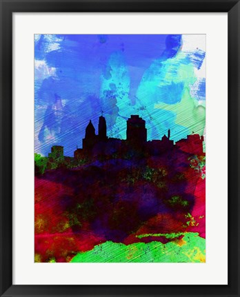 Framed Cincinnati Watercolor Skyline Print