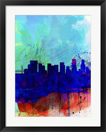 Framed Portland Watercolor Skyline Print