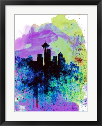 Framed Seattle Watercolor Skyline 1 Print