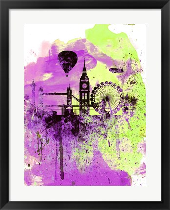 Framed London Watercolor Skyline 1 Print