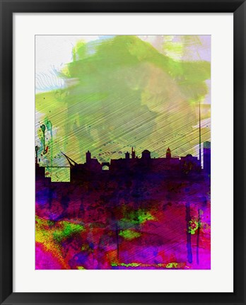 Framed Dublin Watercolor Skyline Print