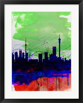 Framed Johannesburg Watercolor Skyline Print