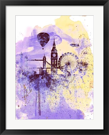 Framed London Watercolor Skyline Print