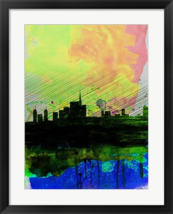 Framed Milan Watercolor Skyline 2 Print