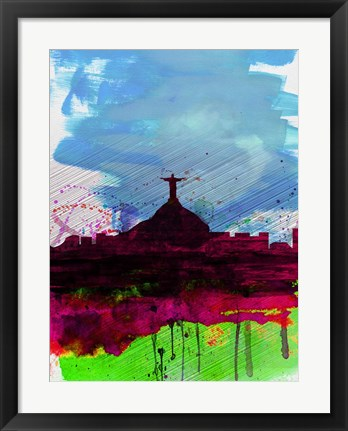 Framed Rio Watercolor Skyline Print