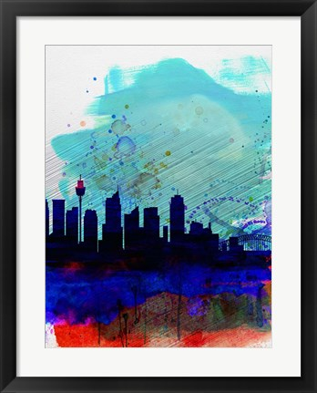 Framed Sydney Watercolor Skyline Print