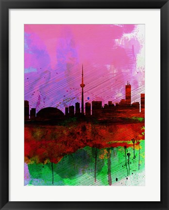 Framed Toronto Watercolor Skyline Print