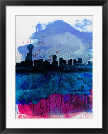 Framed Vancouver Watercolor Skyline Print