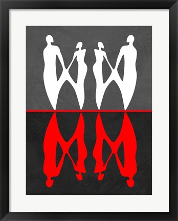 Framed Red and White Dance 2 Print
