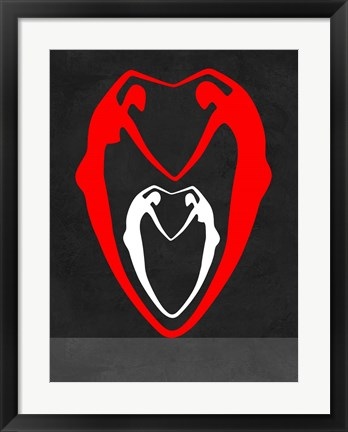 Framed Red and White Heart Print