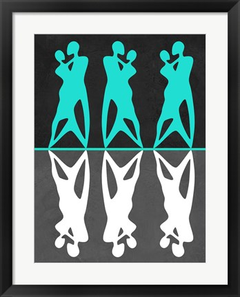 Framed Green and White Couple dancing Print