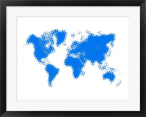 Framed Blue Dotted World Map Print
