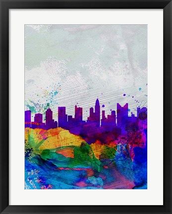 Framed Columbus Watercolor Skyline Print