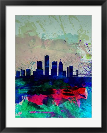 Framed Detroit Watercolor Skyline Print