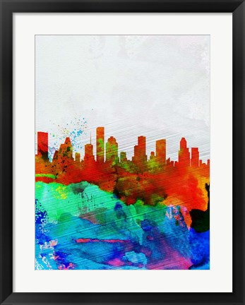 Framed Houston Watercolor Skyline Print