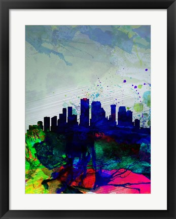 Framed New Orleans Watercolor Skyline Print