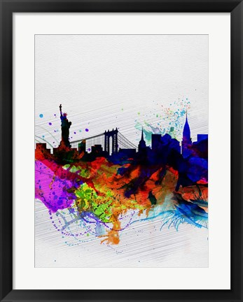 Framed New York  Watercolor Skyline 1 Print