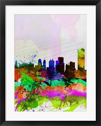 Framed Buffalo Watercolor Skyline Print